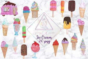 Hand Drawn Watercolor Ice Cream