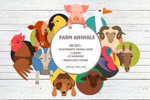 Farm animals icons big bundle