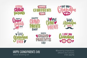 Happy Grandparents day lettering