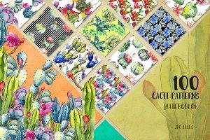 Watercolor 100 cacti patterns JPG