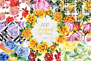 100 patterns of colorful roses JPG