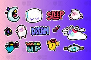 Sleeping And Dreams Symbols Set