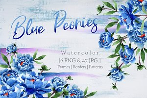 Cool blue Peonies PNG watercolor set