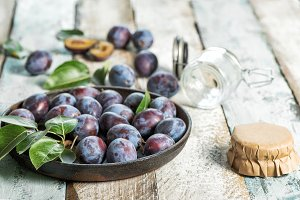Plums rustic wooden background Jam