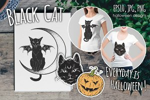 Black Cat Halloween Designs