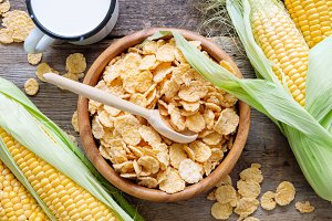 Bowl of cereal corn flakes.