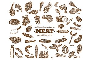 Vector meat food collection 6