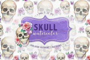 Cool skull print PNG watercolor set