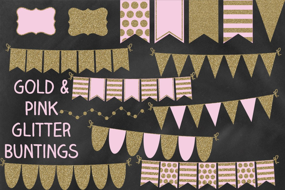 Pink and Gold Glitter Bunting Banner ~ Graphic Objects ...