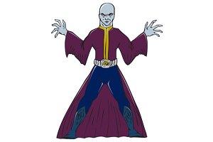 Bald Sorcerer Casting Spell Isolated