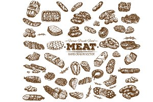 Vector meat food collection 7