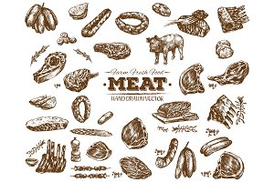 Vector meat food collection 8