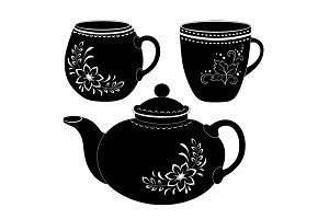 Teapot and cups, silhouettes