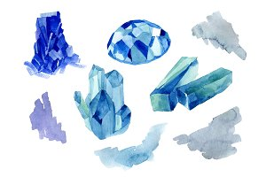 Aquarelle blue crystals and splashes