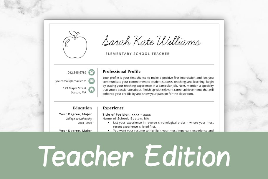 Teacher Resume CV Template