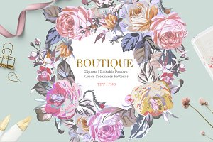 BOUTIQUE, PATTERNS & CLIPARTS