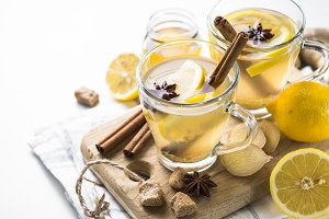Hot Ginger tea with lemon, honey and