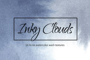 Inky clouds. Watercolor textures.