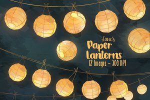 Watercolor Paper Lanterns Clipart