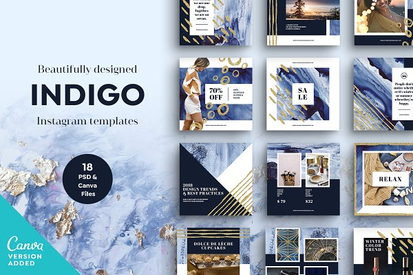 INDIGO Instagram Template Set