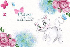 Cute cats. Watercolor clipart
