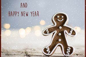 Christmas Card with Gingerbread man.