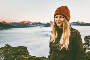 Pretty woman hiking outdoor