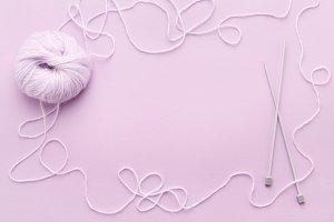 Lilac yarn & frame of tangled thread