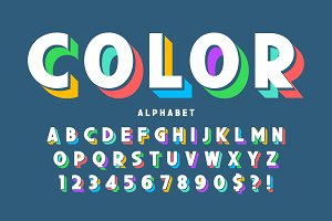 3d display font design, alphabet