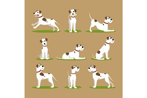 Cartoon Color Funny Puppy Set.
