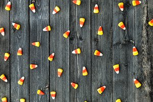 Wooden Background With Candy Corn