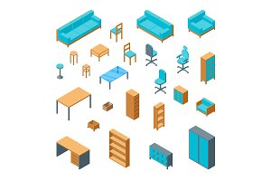 Office Furniture 3d Set Isometric