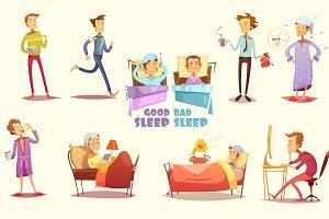 Good and bad sleep flat icons