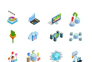Modern data analysis isometric icons