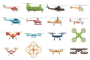 Helicopters and drones icons set