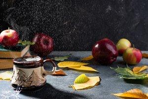 Autumn composition with rain
