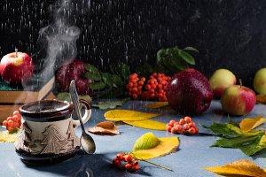 Autumn coffee and rain
