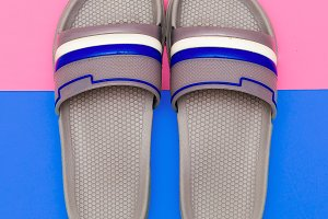 Flip flops. Minimal flat lay art