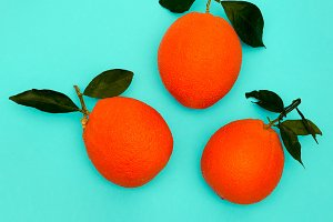 Fresh Oranges on blue background. Mi