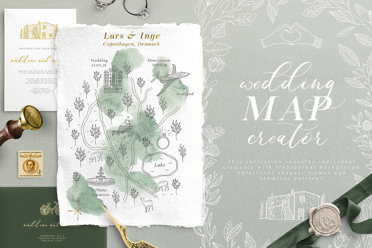 Map Creator.Wedding Map Creator Illustrations Creative Market