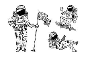 Astronaut soaring with the USA