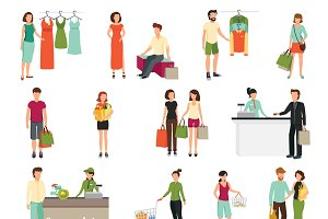 Shopping people set
