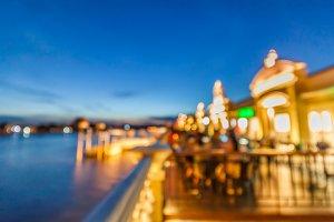 Defocus of restaurant near river