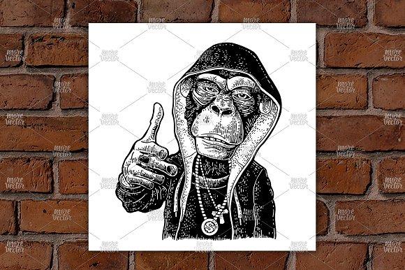 Monkey rapper in hoodie