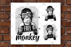 Monkeys police department Engrave