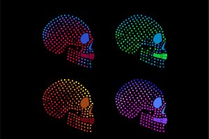 Neon fashion skulls side on
