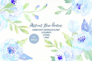 Abstract Blue Peony Clipart