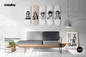 Skateboard Decks Wall Art Mockup