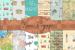 Bon Voyage Travel Digital Paper