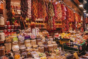 Spices at La Boqueria Market